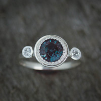 Multistone Alexandrite Ring, June's Birthstone Ring, Gemstone Halo Ring, White Sapphire and Alexandrite Jewelry, June Gemstone Anniversary