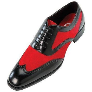 Wakeby Wolf Fancy Black/Red Oxford Brogue Wingtip Suede & Leather Shoes