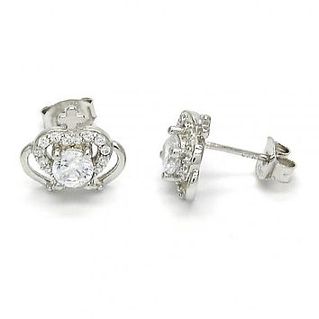Sterling Silver 02.285.0059 Stud Earring, Crown Design, with White Cubic Zirconia, Polished Finish,