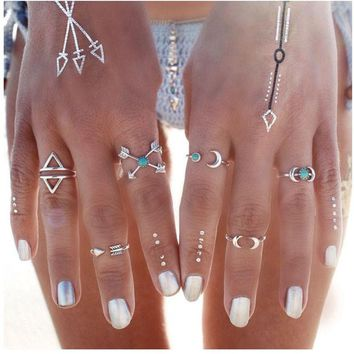 LMF9GW 6PCS Vintage Turkish Beach Punk Moon Arrow Ring Set Ethnic Carved Silver Color Boho Midi Finger Ring Knuckle Charm anelli