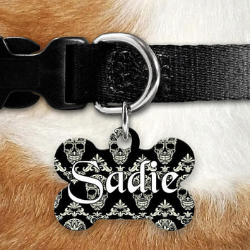 Skulls Damask Pet ID Tag, Lost Dog Tag, Pet Name Tag, Custom Pet Tag, Dog Tag Collar, Round Bone Personalized Double Sided