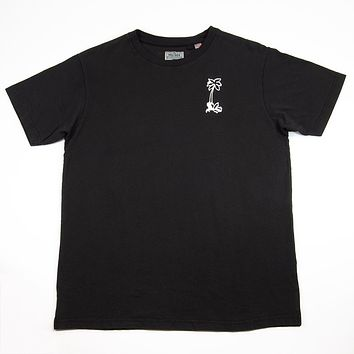 T-Shirt, Palm Tree Chainstitch Embroidery, Faded Black
