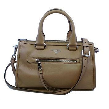 Prada Women's Beige Tan Cammeo Bauletto Vitello Phenix Leather Tote Satchel Handbag 1BB022