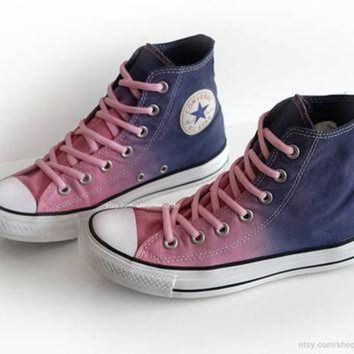 CREYONB Ombr¡§| dip dye Converse All Stars, pink, purple, blue, upcycled vintage sneakers, high