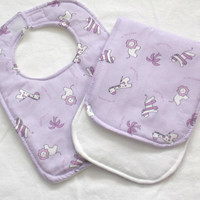 Handmade Baby Bib, Infant or Toddler, Zoo animals, purple