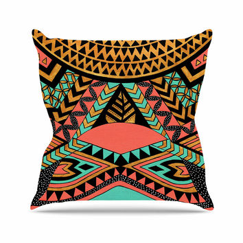 "Pom Graphic Design ""PeruNative"" Gold Coral Outdoor Throw Pillow"