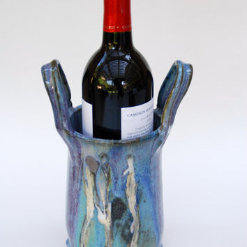 Blue Wine Cooler in Stoneware,  Pottery and Ceramics wine bottle coaster, Handmade by ElenaMadureri. #potterywinecoaster