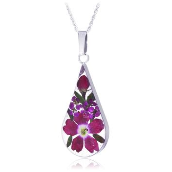 Large Sterling Silver Pink & Red Rose Dried Flower Teardrop Necklace