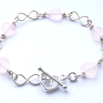 Silver and Pink Wirework Bracelet 02 - Silver Infinity Shaped Chain Links, Pink Heart Shaped Charms, Hand Crafted, Plus Size