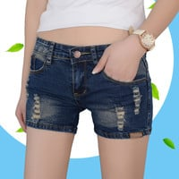 New Summer Shorts Women Vintage Club jeans Denim Shorts Sexy Hip Hop Skull Patch Plus Size Ripped Shorts Slim Jeans