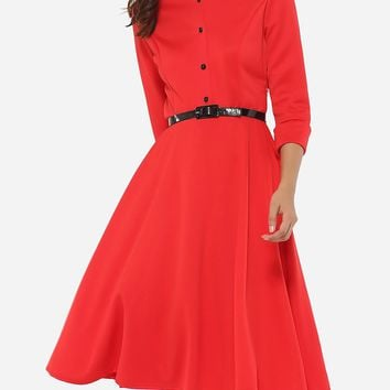 Casual Button Down Collar Dacron Plain Skater-dress