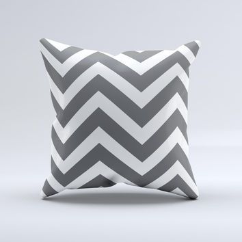 Sharp Gray & White Chevron Pattern Ink-Fuzed Decorative Throw Pillow