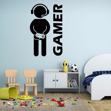 Gamer Wall Vinyl Decal Video Games Sticker Joystick Fun Kids Home Decor