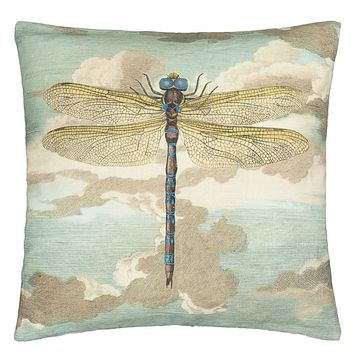 John Derian Dragonfly Over Clouds Sky Blue Decorative Pillow