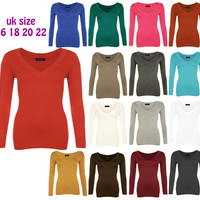 New Womens Plain V Neck Ladies Long Sleeve Stretch T-Shirt Top Size 16 18 20 22