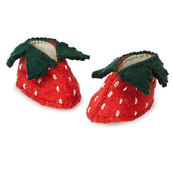 Strawberry Shortcake Booties | baby shoes, handmade