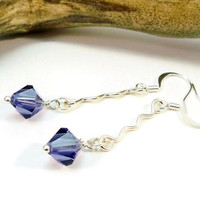 Purple Crystal Earrings, Dangle Earrings, Long Earrings, Gift for Her, Crystal Earrings