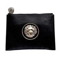 Versus Versace Women's Lion Head Leather Shoulder Bag FBD1131 FNAP F41N Black