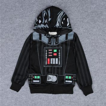 2017 New Children Coat Star Wars Darth Vader Cosplay Costumes Kids Sweatshirt Hoodie Spring Antumn Boys/Girls Zipper Jackets