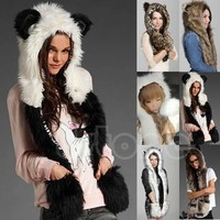 Faux Fur Animal Hood Beanies With Scarf Paws