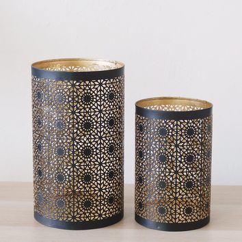 "Set of 2 Black & Gold Metal Hurricane Candle Holders - 6.5-8.5"" Tall"