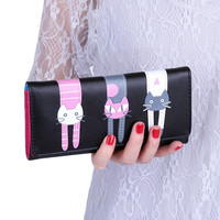 Fashion Korean Envelope Women Wallet 2016 Kawaii Cats Cartoon Women PU Long Clutch Wallet Girl Credit Card Holder coin purses