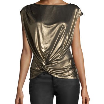 Cap-Sleeve Metallic Top, Gold, Size: