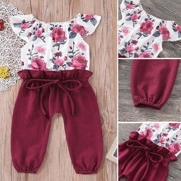 US Infant Toddler Baby Girls Flower Jumpsuit Dungarees One piece Playsuit Outfit