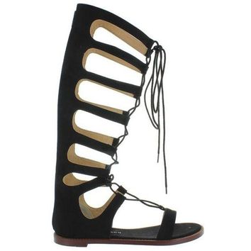 CREYONIG Chinese Laundry Galactic - Black Micro Suede Tall Gladiator Sandal