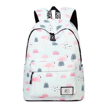 "Girls bookbag Water Resistant Lightweight Fashion White Flamingos Printed School Backpack with 15.6"" Laptop Sleeve Cute Bookbag for Girls AT_52_3"