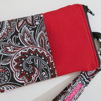 Iphone Wallet, Zippered Wallet, Phone Wallet, Wallet, Pouch, with Pocket, Fully Lined, Lobster Clip, Paisley Wallet, Black Paisley Wallet