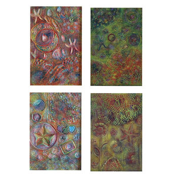 4 Panel Set - Wood Panel Painting - Original Contemporary Art - Textured Painting - Multi Panel Art - Modern Artwork By Patty Evans