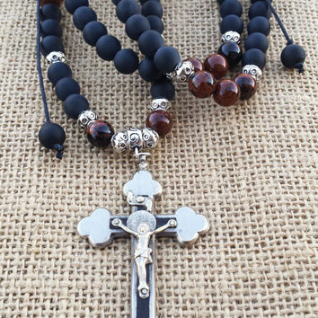 Vintage Cross Necklace Men's Rosary Beaded Long Cross Necklace Jesus Necklace Men Religious Jewelry Religious Gifts Catholic Necklace