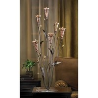 Leopard Lily Blossom Tall Tabletop Candle Tree