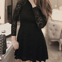 Black Lace Long Sleeve Flare Dress