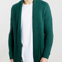 FOREST GREEN OPEN DRAPE CARDIGAN