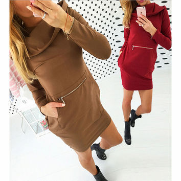 Fashion hooded pocket stitching dresses