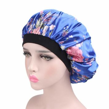 2017 Women Multicolor Night Cap New Wide Band Hair Loss Chemo Hat Comfortable Satin Bonnet Ladies Turban Caps