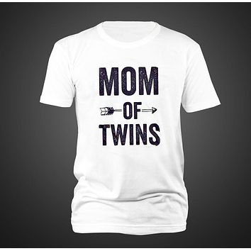 2017 women lady t shirt soft comfortable letter mom of twins arrow printed short sleeves loose casual o neck t shirt tops tee