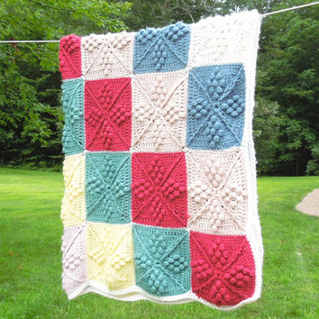 "Vintage crochet afghan with red teal green yellow lavender white squares 64"" x 52"""