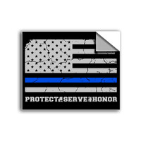 "FREE SHIPPING - ""Thin Blue Line Flag"" Vinyl Decal Sticker (5"" tall) - Limited Time Only!"