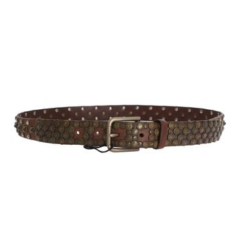 Dolce & Gabbana Brown Leather Gold Buckle Studded Belt