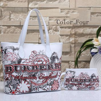 Burberry Women Leather Handbag Tote Shoulder Bag Clutch Bag Set Two Piece