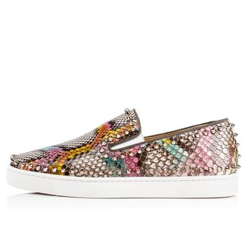 Christian Louboutin Cl Pik Boat Men's Flat Multi/colombe Metal Python Kaa 17s Sneakers - Ready Stock
