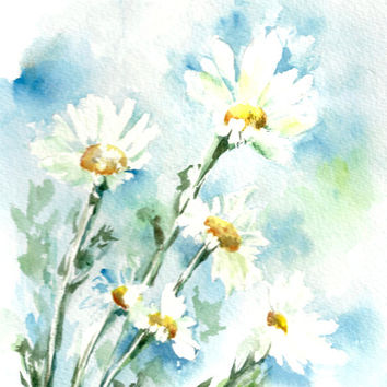 Daisy Flowers Art Print, Watercolor Painting, Blue Floral, Modern Art, Abstract Floral Wall Art