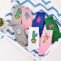 Korean Novelty Women and Men Cotton Crew Socks Funny Cactus Banana  Pattern Creative Lovers Sox Harajuku Novelty pink white