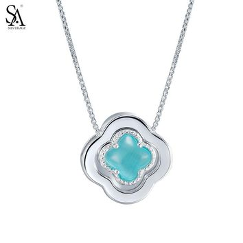 SILVERAGE Genuine 925 Sterling Silver Pendant Necklaces Fine Jewelry for  Women Lucky Four Leaf Clover 2016 1617e9422c