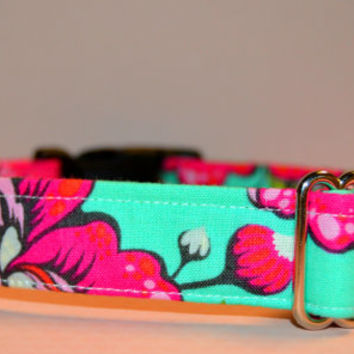 "Girly Teal and Pink Dog Collar, Cat Collar ""The Sookie"""