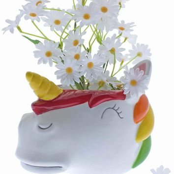 Rainbow Unicorn Ceramic Planter Pot