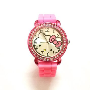 Fashion Diamond Crystal hello kitty watch women girls children dress causal ladies gift rhinestone quartz watch relogio infant
